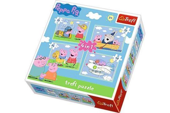 Puzzle 4w1 - Podróże Świnki Peppy Trefl 34246
