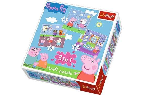 Puzzle 3w1 - Świnka Peppa Zabawy w Szkole Trefl 34813
