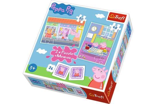 Puzzle 2w1 + Memos - Świnka Peppa Dzień Peppy Trefl 90600