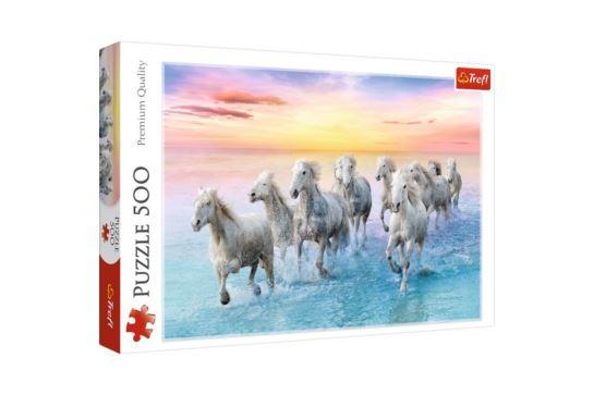 Puzzle Trefl 500 el. Białe Konie w Galopie
