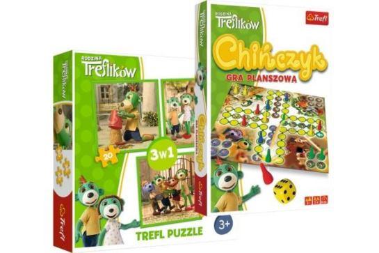 Trefl 34838 chińczyk + puzzle 3w1 Trefliki