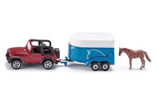 Siku 1651 Jeep z Przyczepą Na Konie